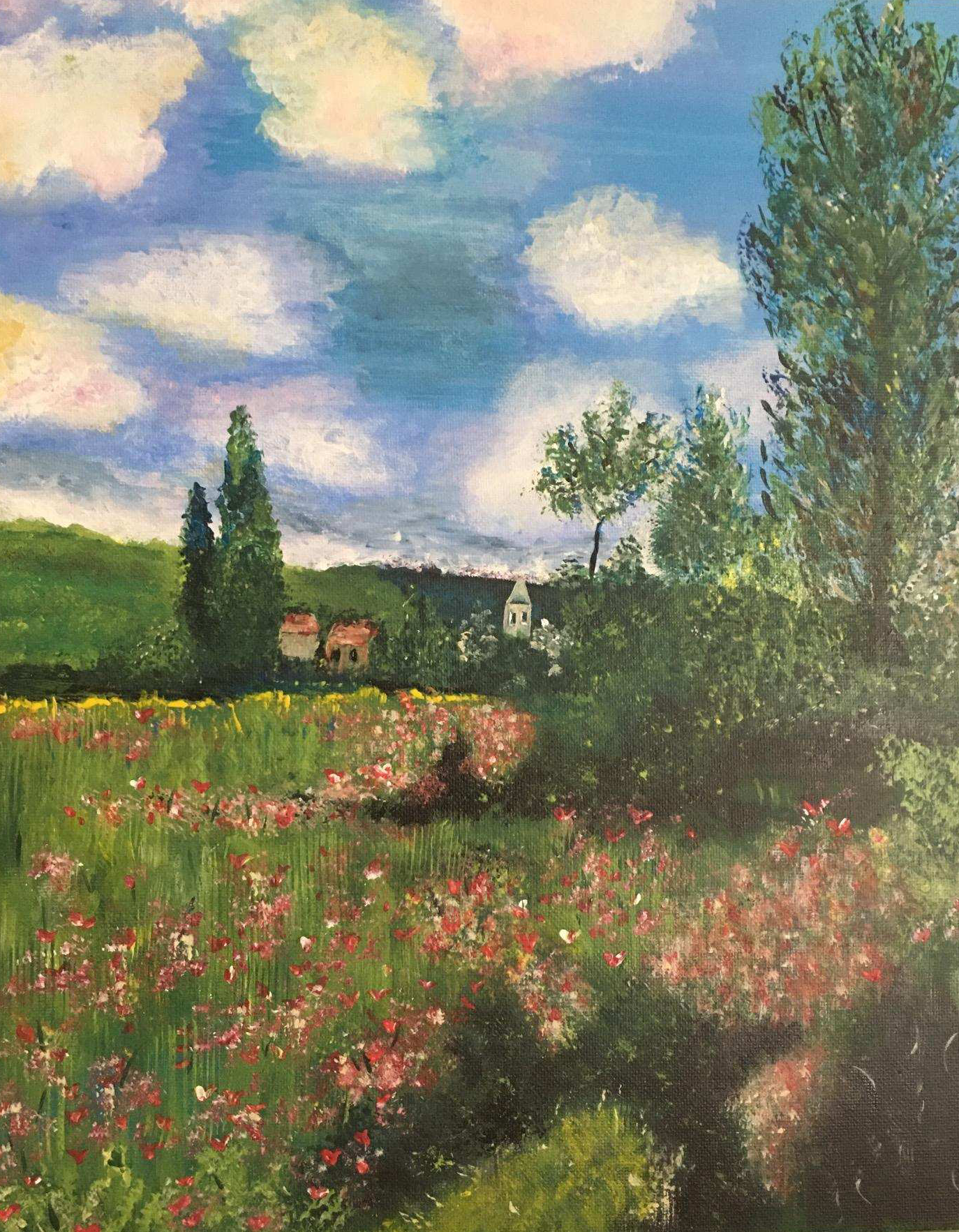 Rendition of Monet's Lane in the Poppy Fields Ile Saint Martin by Anita