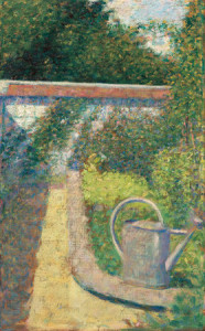 George Seurat: The Watering Can - Garden at Le Raincy, c. 1883, oil on panel, Collection of Mr. and Mrs. Paul Mellon