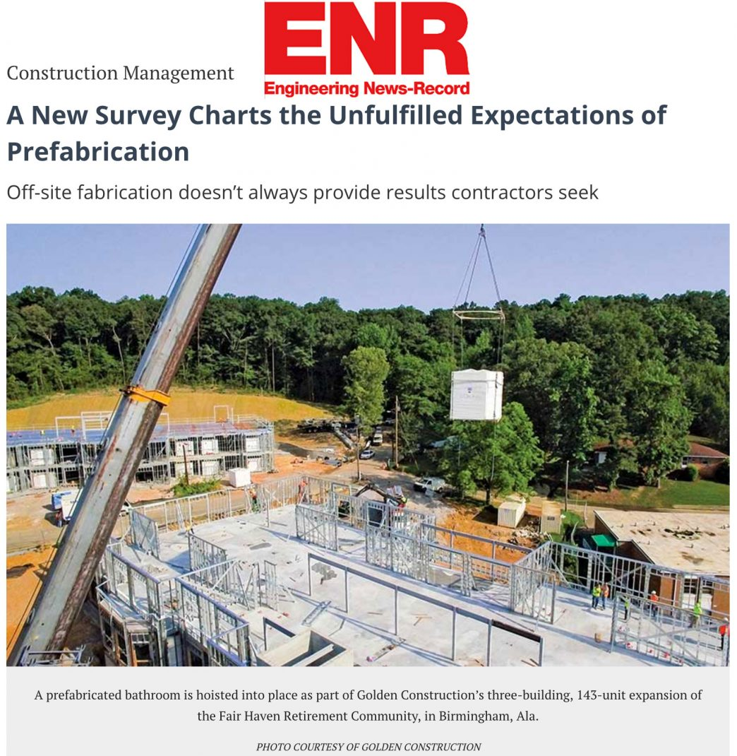 ENR unfulfilled expectations of prefabrication