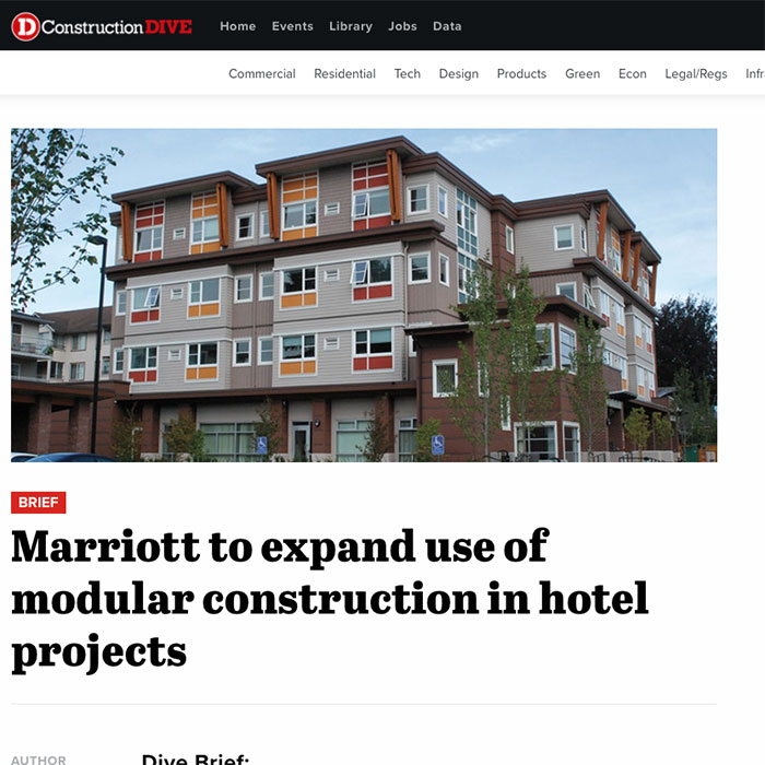 Construction Dive article regarding prefab and modular hotel construction