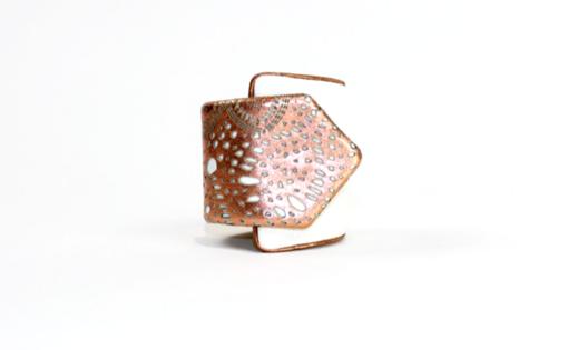 Copper Laser Cut White Suede