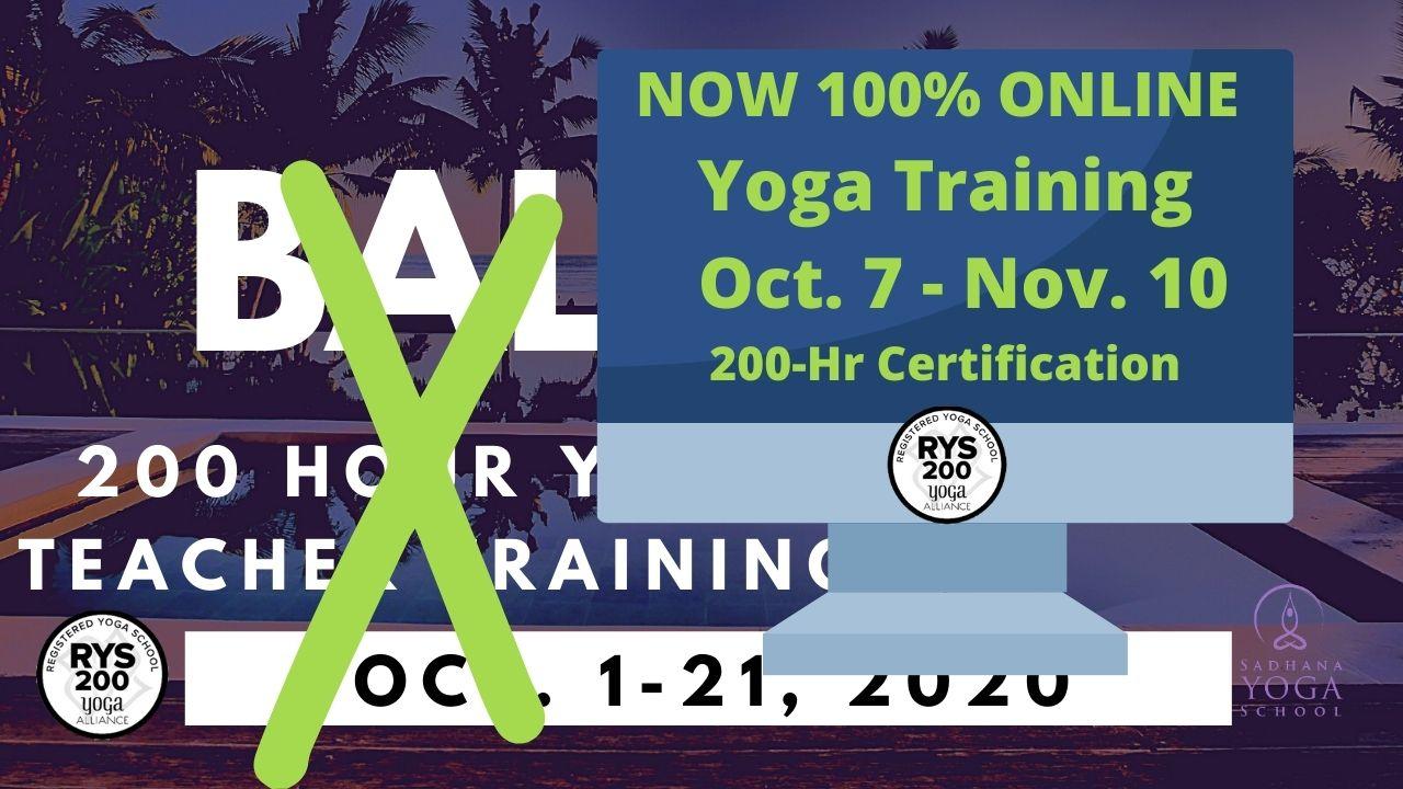 200-hour Online Yoga Teacher Training Starts October 7
