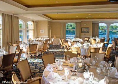 Harborview room set for banquet dinner.