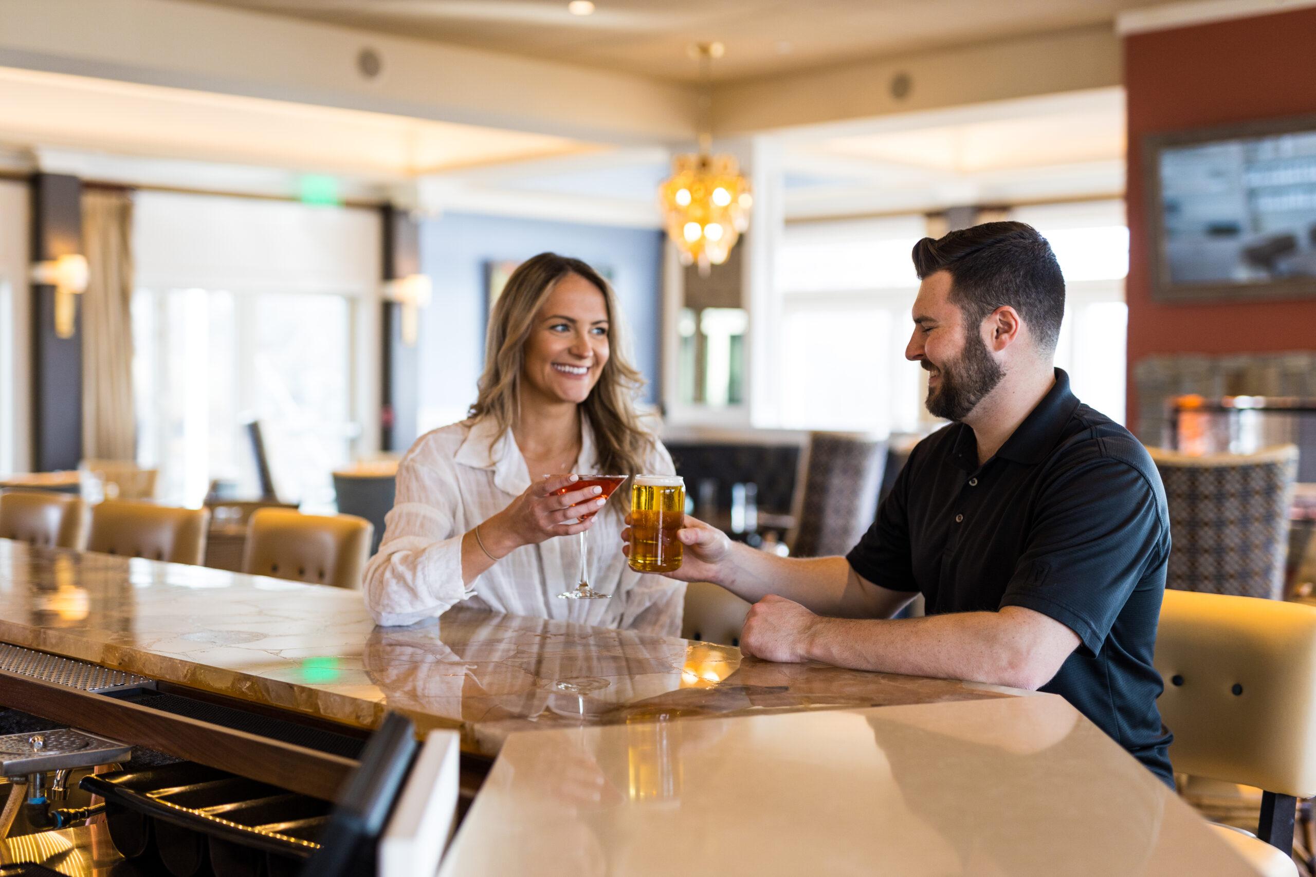 Couple enjoying their drinks