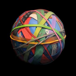 Oil painting on canvas by Canadian artist Joanna Strong of a rubber band ball representing a good spring.
