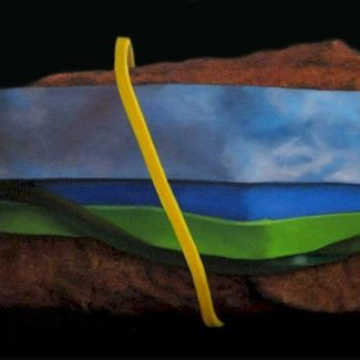 Oil painting on canvas by Canadian artist Joanna Strong of rubber bands and a rock representing a trip to Prince Edward Island.