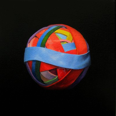 Oil painting on canvas by Canadian artist Joanna Strong of a rubber band ball representing sky.
