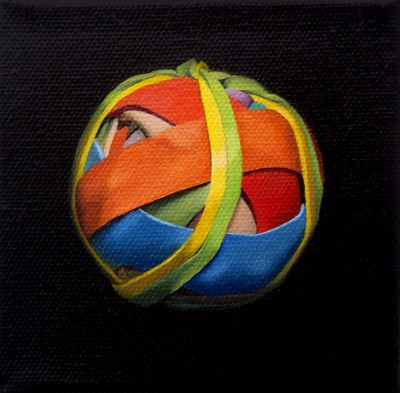 Oil painting on canvas by Canadian artist Joanna Strong of a rubber band ball representing a bundle of joy.