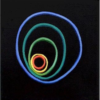 Oil painting on canvas by Canadian artist Joanna Strong of rubber bands representing ripples.