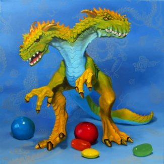 Oil painting by Toronto artist Joanna Strong of a toy two-headed dragon and candies.