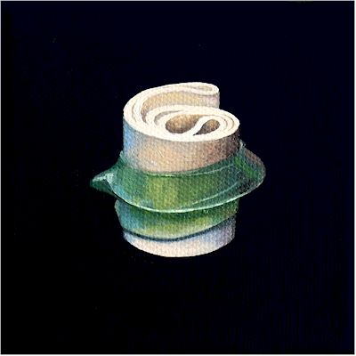 Oil painting on canvas by Canadian artist Joanna Strong of rubber bands representing ice skating.
