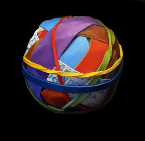 Oil painting on canvas by Canadian artist Joanna Strong of a rubber band ball representing it will all look better in the morning.