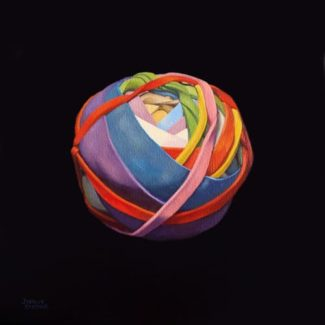Oil painting on canvas by Canadian artist Joanna Strong of a rubber band ball representing it all coming together.