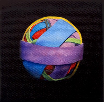 Oil painting on canvas by Canadian artist Joanna Strong of a rubber band ball representing let's stay together.