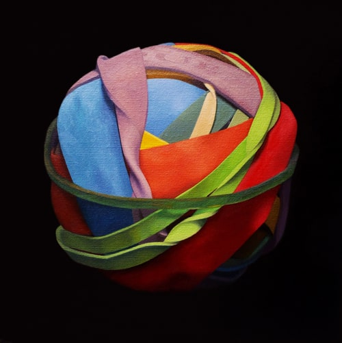 Oil painting on canvas by Canadian artist Joanna Strong of a rubber band ball representing rolling along.