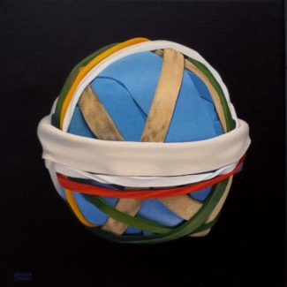 "Oil painting on canvas by Canadian artist Joanna Strong of a rubber band ball, entitled: ""Snow at Last""."