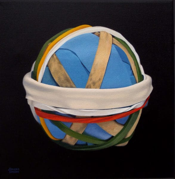 """Oil painting on canvas by Canadian artist Joanna Strong of a rubber band ball, entitled: """"Snow at Last""""."""