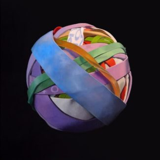 Oil painting on canvas by Canadian artist Joanna Strong of a rubber band ball representing there are lots of adventures left to come.