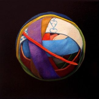 Oil painting on canvas by Canadian artist Joanna Strong of a rubber band ball representing happiness.