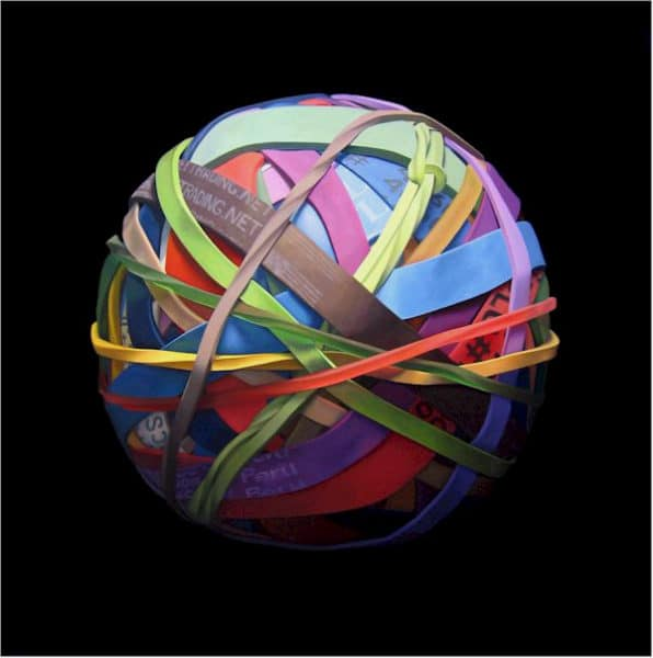 Painting by artist Joanna Strong of a rubber band ball,, entitled Gone Shopping, Back Soon.