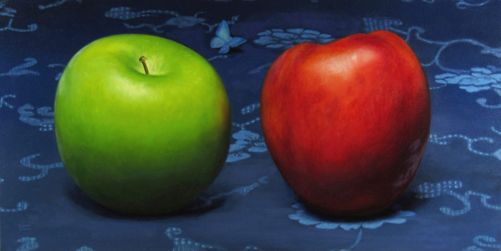 Oil painting by Joanna Strong of a red and a green apple.