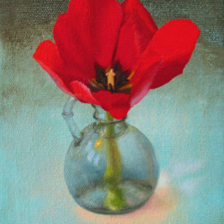 Oil and acrylic painting by Joanna Strong of a red tulip in a glass vase.