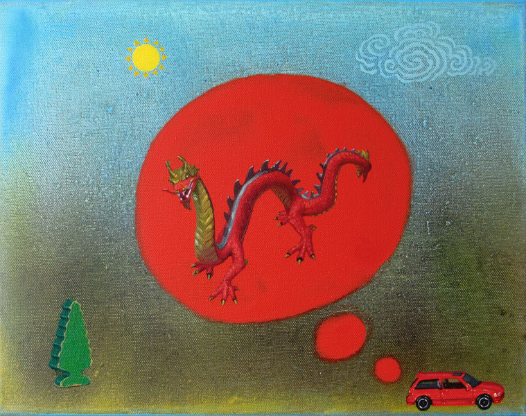 Oil and acrylic painting by Joanna Strong of miniature red car dreaming of a red dragon.