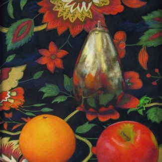 Acrylic painting by Joanna Strong of an orange, apple, and golden pear, with miniture dragon and alligator, on Indian fabric.