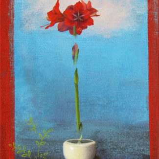 Oil and acrylic painting by Joanna Strong of the growth of an amaryllis in a white pot, from bulb to blossom.
