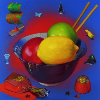 Oil and acrylic painting by Joanna Strongportraying a lemon, and teo apples in a bowl with chopsticks, surrounded by chocolates, miniatures, and a paper boat.