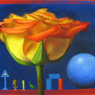 Oil and acrylic painting by Joanna Strong of a yellow rose , blue ball, and miniature toys.