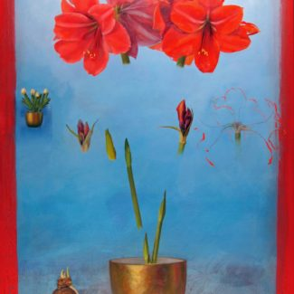 Oil and acrylic painting by Joanna Strong of the growth of an amaryllis in a golden pot, from bulb to blossom.