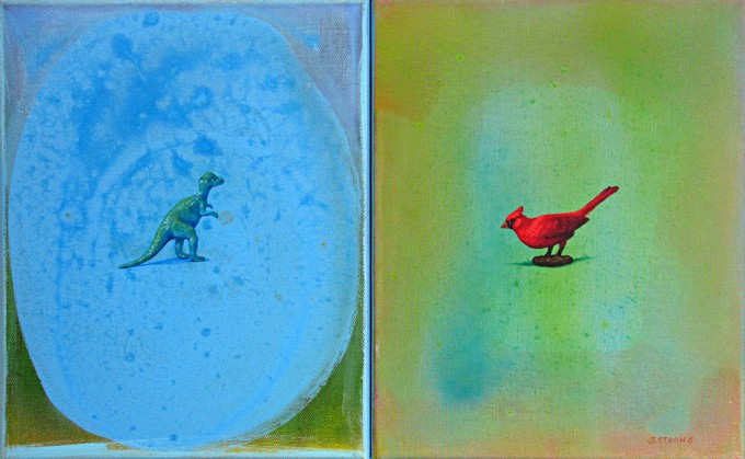 Oil painting by Toronto artist Joanna Strong of a toy dinosaur and red cardinal facing each other.