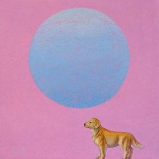 Oil painting by Toronto artist Joanna Strong of a toy Labrador Retriever dog.