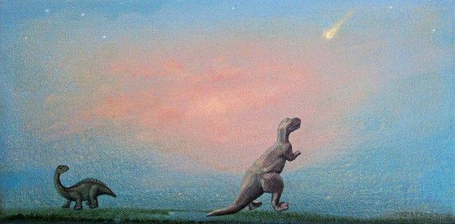 Oil painting by Toronto artist Joanna Strong of toy dinosuars watching approaching comet.