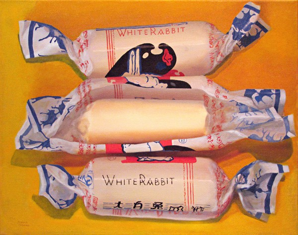 Oil painting by Canadian artist JOanna Strong of three White Rabbit Candies.