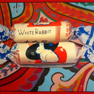 Oil painting by Toronto artist Joanna Strong of White Rabbit candies