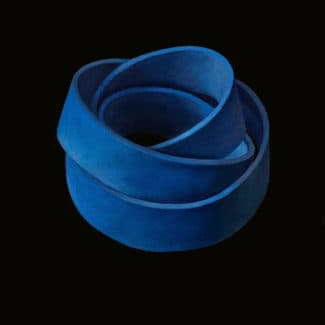 Oil painting on canvas of rubber bands by Canadian artist Joanna Strong, entitled: Nestling into Blue.