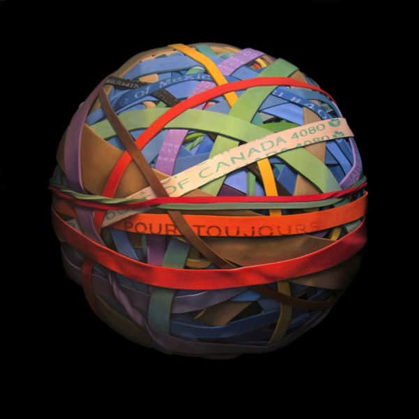 Oil painting on canvas of a rubber band ball by Canadian artist Joanna Strong, entitled: We're All in this Together.