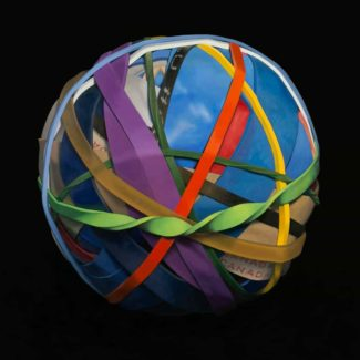 "Oil painting by Toronto artist Joanna Strong of a rubber band ball entitled ""Let's Go Outside""."
