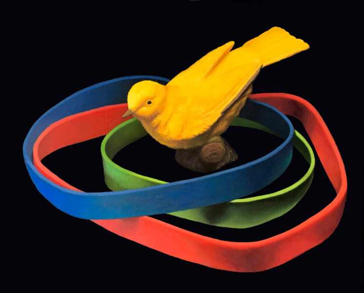 """Oil painting by Canadian artist Joanna Strong entitled""""Venn Diagram of the Existence of a Yellow Bird."""""""