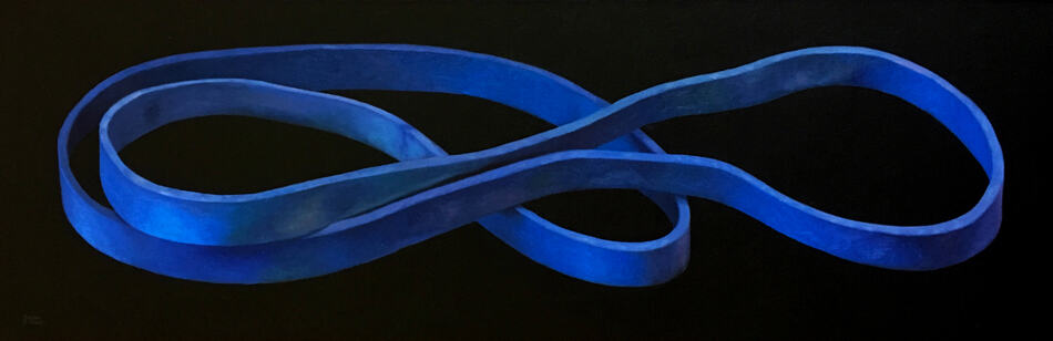 Oil painting by Canadian artist Joanna Strong of a blue rubber band.