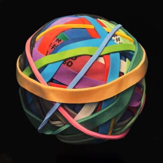 Painting by artist Joanna Strong of a rubber band ball,, entitled What's Next.