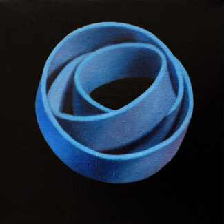 "Oil painting entitled ""A Long Deep Breath"" of a rubber band, by Canadian artist Joanna Strong."
