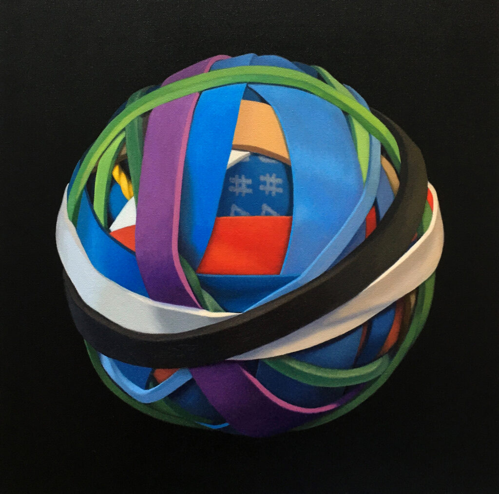"Oil painting entitled ""A Peaceful Day"" of a rubber band ball, by Canadian artist Joanna Strong."