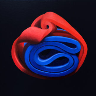 Oil painting on canvas of rubber bands by Canadian artist Joanna Strong, entitled: You Got This.