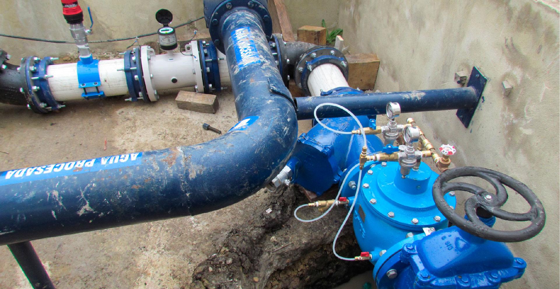 Estación de medición y reducción de presión FunzaEstación que contabiliza y reduce la presión del agua que ingresa a Funza, Cundinamarca desde Bogotá.