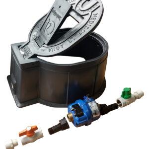 KIT Cajilla interamericana, +Medidor Volumetrico R200 1/2″ Metalico +, Registro PVC Antifraude hembra+hembra1/2″, + Registro PVC de Paso