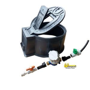 KIT Cajilla interamericana, +Medidor Velocidad Chorro unico Metalico R160 1/2″, +Registro PVC Antifraude hembra+hembra1/2″, +Registro PVC de Paso
