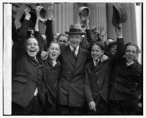 """Dawes and Senate Pages, c. 1925. He advised them: """"stand against the crowd and you will amount to something."""""""